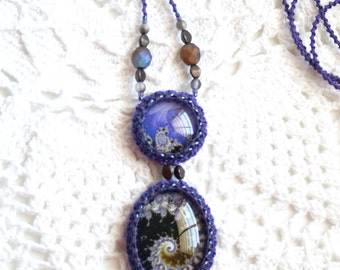 Purple Long Necklace Czech Glass Beads Tatting Fiber Cabochon Fractal Art