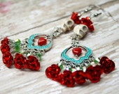Sugar Skull Earrings Catrina Day of the Dead Red Roses Bridal Jewelry
