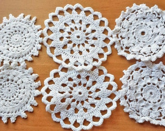 6 Small Crochet Doilies, White and Off White Doilies for Crafts and Decorating, Crochet Rounds for Sewing and Dream Catchers