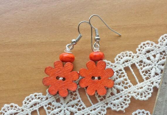 Orange Flower Wooden Button Earrings, Upcycled Earrings