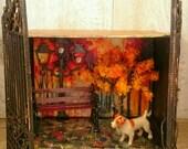 A Walk in the Park Miniature Diorama. Miniature Shadow Box. Mixed Media Art.  Mini Diorama. Mini Shadow Box. Dog Walking in Park