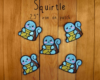 "Squirtle iron-on patch 2.5"" pokemon embroidered embroidery iron on patch"
