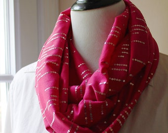 Hot Pink Sequin Infinity Scarf