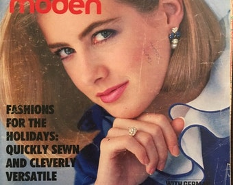 December 1983 Burda Moden Fashion Magazine and Sewing Patterns with German and English Instructions