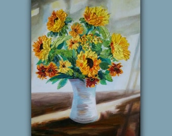 Oil Painting, SUNFLOWER - SUNSHINE, Original Oil Painting, flowers, vase, sunlight, artwork, sunflowers, Original Painting, signed by artist