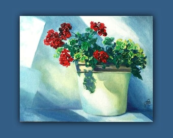 Oil Painting, LITTLE GERANIUM, Original Oil Painting, impasto painting, flowers, light, painting, flower pot, garden, signed by the artist