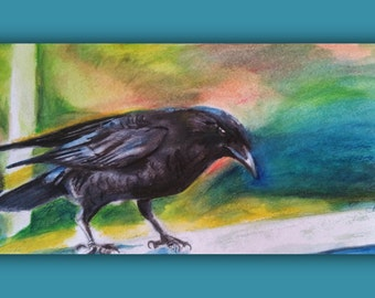Original Watercolor, MR. CROW, Original Watercolor Painting, bird, raven, color, signed by the artist