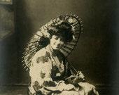 "Vintage Real Photo Postcard ""Her Year in Japan"" Asian Parasol Old Antique RPPC Photo Black & White Photograph Found Paper Ephemera - 197"