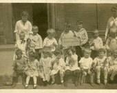 """Vintage Photo """"Kindergarten Class"""" Children School Snapshot Old Antique Photo Black & White Photograph Found Paper Ephemera Vernacular - 207"""