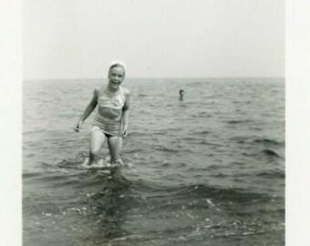 "Vintage Photo ""Sea Worthy Giggles"" Girl Snapshot Photo Antique Photo Black & White Photograph Found Photo Paper Ephemera Vernacular - 106"