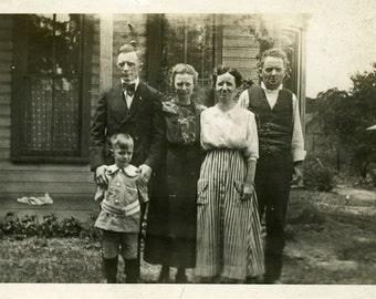 "Vintage Photo ""The Miller Family"" Snapshot Photo Old Antique Photo Black & White Photograph Found Photo Paper Ephemera Vernacular - 113"