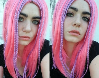 Pink Wig With Lavender Braids