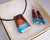 Handmade Statement Jewelry SHIPS IMMEDIATELY Wooden Necklace Earrings Set Blue Pendant Inlaid Desert Ironwood Luxury Birthday Gifts for Her