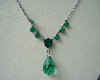 Art Deco Necklace Green Glass Drop and Rhinestones  1920's 1930's