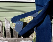 "SALE! 50% OFF! Upcycled Bell Bottoms, 'Zig Zag' patchwork bell bottom jeans ""Heavy with Mood"" one-of-a-kind"