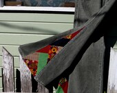 """Upcycled Bell Bottoms, 'Zig Zag' patchwork bell bottom corduroys """"Rage Sage"""" one-of-a-kind, hippie, eco"""