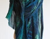 Forest green and navy plaid cotton shawl, transitional scarf, oversized wrap, hand painted tartan