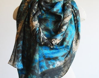 turquoise silk scarf, oversized hand printed shawl, 88editions scarves