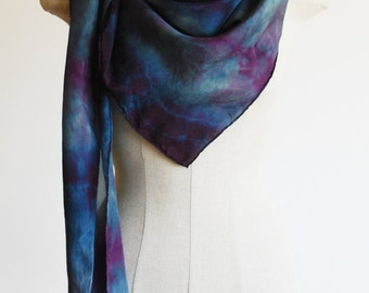 Shibori dyed silk scarf, violet and indigo scarf, scarves by 88editions