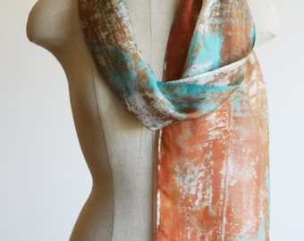 hand printed silk scarf, copper and turquoise screen printed unique scarf