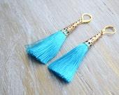 Turquoise Tassel Earrings, Bohemian Earrings, Fringe Earrings, Boho Jewelry