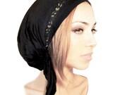 Black Gold Head Scarf Lace Tichel Fancy Ocassions Feminine Chemo Head Scarf Hair Snood Pre tied Bandana Comfy Cotton - 120