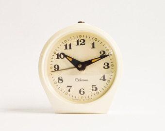 Vintage White Mechanical Alarm Clock Cream Working