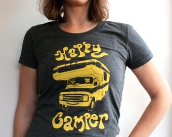 Screenprinted by hand Happy Camper Motorhome womens, Fox and Raccoon original artwork American Apparel grey T Shirts