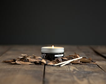 Ember - Campfire Scented Candle - 4 oz. Tin Soy Wax Candle - Autumn Candle - Fireside Candle - Man Candle