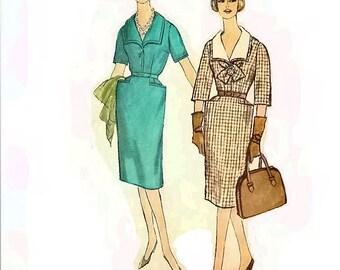 1960s Slenderette Dress Pattern V Neckline Detachable Collar Front Tie Bust 35 Size 14.5 Simplicity 3533 Womens Vintage Sewing Pattern