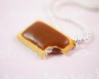 Food Jewelry - Pop Tart Necklace (s'mores) - Miniature Food - Polymer Clay