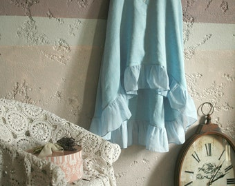 Light blue linen tunic, nightgown, high low ruffled hemline and button closure