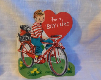 Vintage Valentine Boy on Bicycle Puppy Dog Terrier Norcross 50s