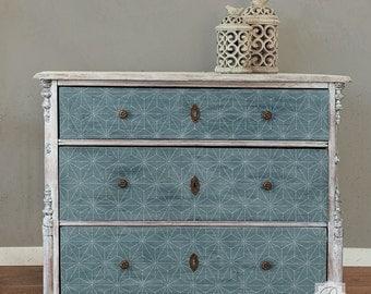 Shibori Japanese Furniture Stencil - Geometric Modern Stencils for DIY Painted Table or Dresser Upcyle