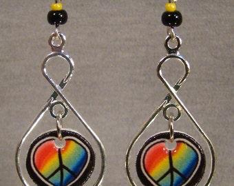 Peace Sign Heart Dangle Earrings - Dream Catcher Jewelry - Rainbow Jewellery
