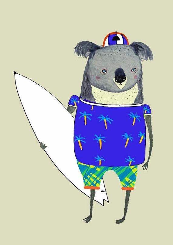 Koala surfer nursery art baby nursery decor nursery print for Surf nursery ideas