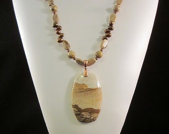 Gorgeous  Landscape Jasper Necklace in Warm Golds and Browns - Accented with Freshwater Pearls, Antiqued Copper, Picture Jasper, OOAK, SRAJD