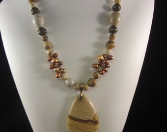 Awesome Landscape Jasper Necklace in Warm Golds and Browns - Accented with Freshwater Pearls, Antiqued Brass, Picture Jasper, OOAK, SRAJD