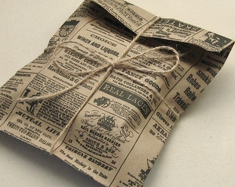 "100 Newspaper Print Kraft Bags 6 x 9"" Newsprint Vintage Style - 6 3/16 x 9 inches"