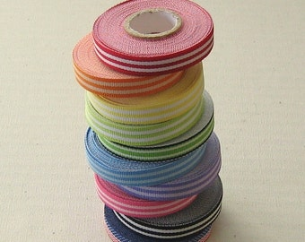 Striped Grosgrain Ribbon 3/8 inch x 5 Yards - You Pick Color Red, Orange, Yellow, Green, Blue, Purple, Pink, Black