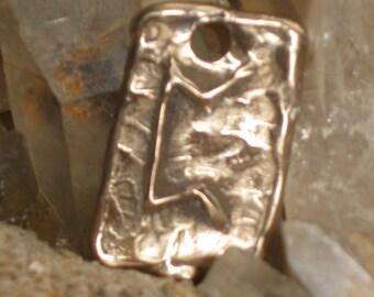 RUNES.Elder Futhark Bronze Rune Pendant of Mystery PERTHRO-PERDHRO..Rune Pendant.Organic Texture.Magical Rune.Magical Charm.Viking Runes