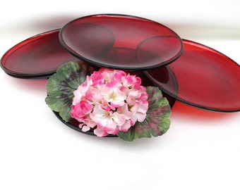 Vintage Red Glass Dishes, Luncheon Plates, Red Plates, 8 Inch Dessert Plates, Set of 6