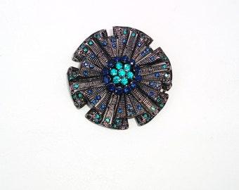 Vintage Metal Rhinestone Brooch / Sapphire Crystal Circle Pendant - Multilayer Cast Metal Pin