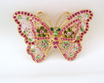 Vintage Rhinestone Butterfly Brooch / Huge Pink Peridot Double Butterfly Pin / Crystal Jewelry