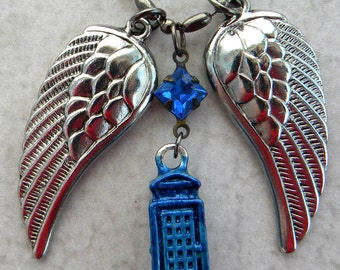 TARDIS  Necklace - Tardis Jewelry, Dont Blink,  Doctor WHO Jewelry - Weeping Angels,  Angels and Phone Box, Blink, Tardis and Angels