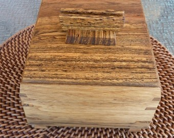 Handcrafted Black Limba & Bocote Jewelry/ Keepsake Box with Decorative Handle