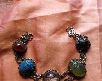 Vintage Antique Carved Gemstones Crystal Sterling Bracelet