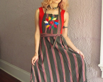 60''s Vintage Hand Woven Embroidered Ethnic Hippie Dress