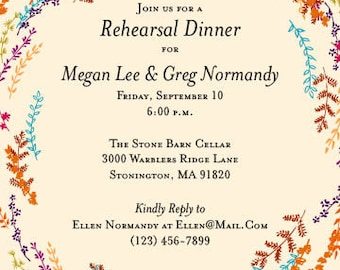 Whimsical Wildflowers Rehearsal Dinner Invitation