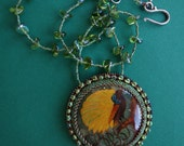 "FREE SHIPPING hand painted pendant "" Bird of Paradise """